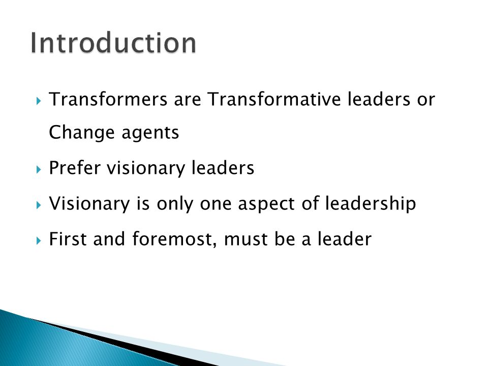  Transformers are Transformative leaders or Change agents  Prefer visionary leaders  Visionary is only one aspect of leadership  First and foremost, must be a leader