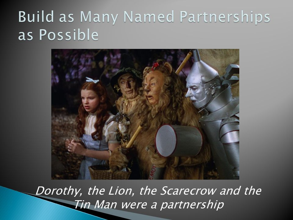 Dorothy, the Lion, the Scarecrow and the Tin Man were a partnership