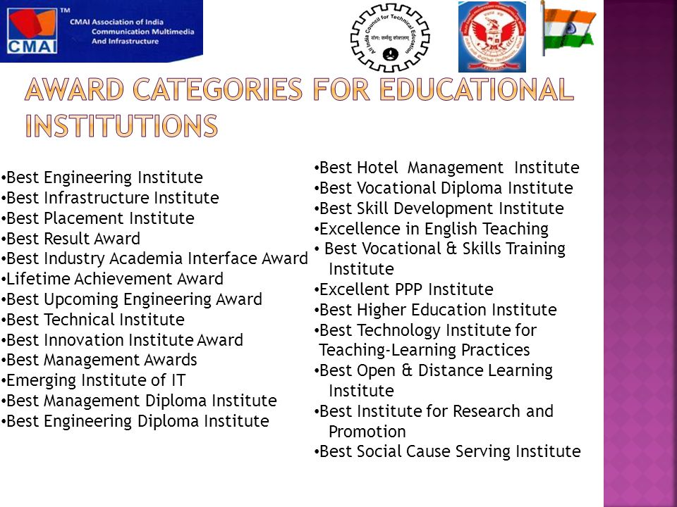 Best Engineering Institute Best Infrastructure Institute Best Placement Institute Best Result Award Best Industry Academia Interface Award Lifetime Achievement Award Best Upcoming Engineering Award Best Technical Institute Best Innovation Institute Award Best Management Awards Emerging Institute of IT Best Management Diploma Institute Best Engineering Diploma Institute Best Hotel Management Institute Best Vocational Diploma Institute Best Skill Development Institute Excellence in English Teaching Best Vocational & Skills Training Institute Excellent PPP Institute Best Higher Education Institute Best Technology Institute for Teaching-Learning Practices Best Open & Distance Learning Institute Best Institute for Research and Promotion Best Social Cause Serving Institute