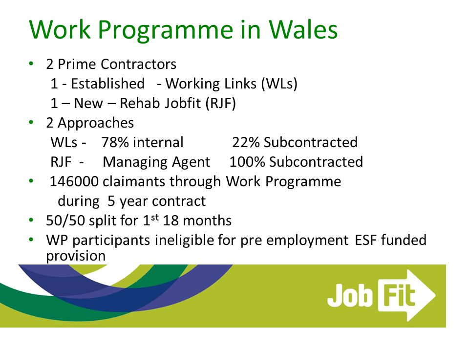 Work Programme in Wales 2 Prime Contractors 1 - Established - Working Links (WLs) 1 – New – Rehab Jobfit (RJF) 2 Approaches WLs - 78% internal 22% Sub