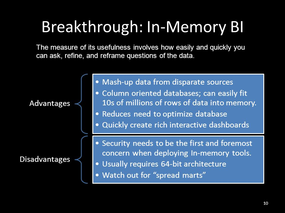 Breakthrough: In-Memory BI 10 Advantages Mash-up data from disparate sources Column oriented databases; can easily fit 10s of millions of rows of data into memory.