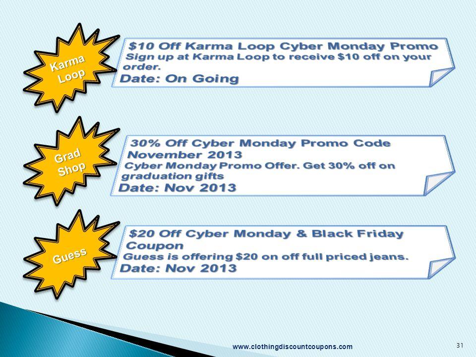 www.clothingdiscountcoupons.com 31 Karma Loop Grad Shop GuessGuess