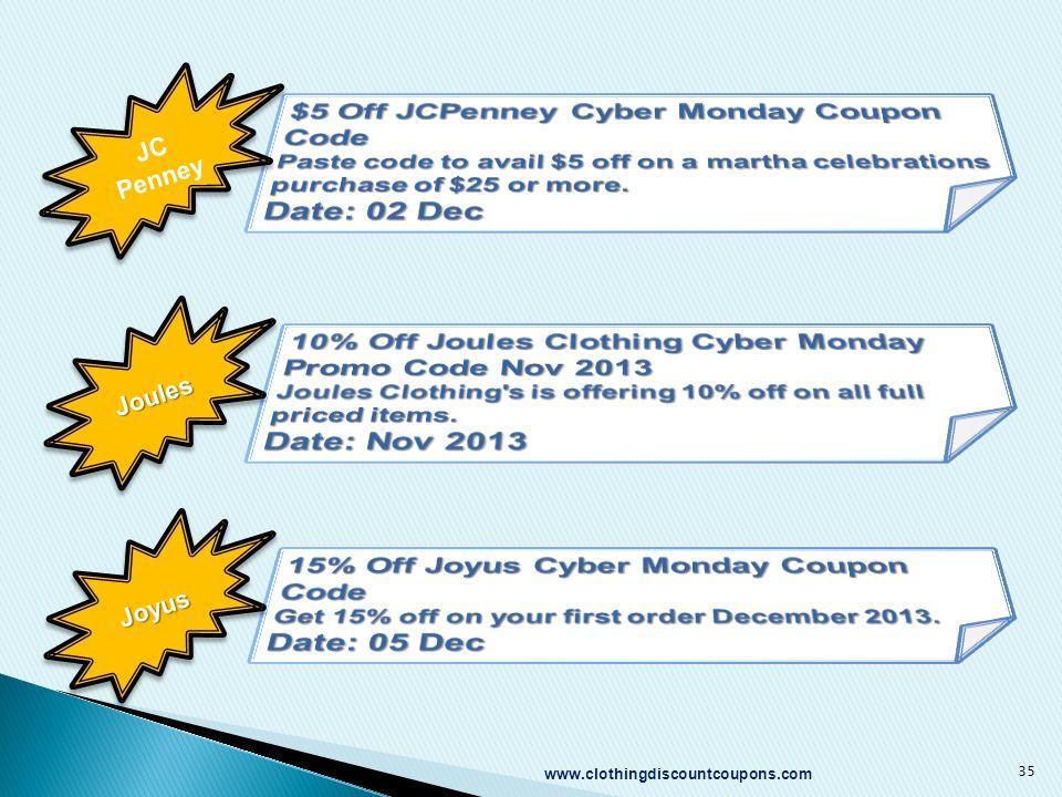 www.clothingdiscountcoupons.com 35 JC Penney JoulesJoules JoyusJoyus