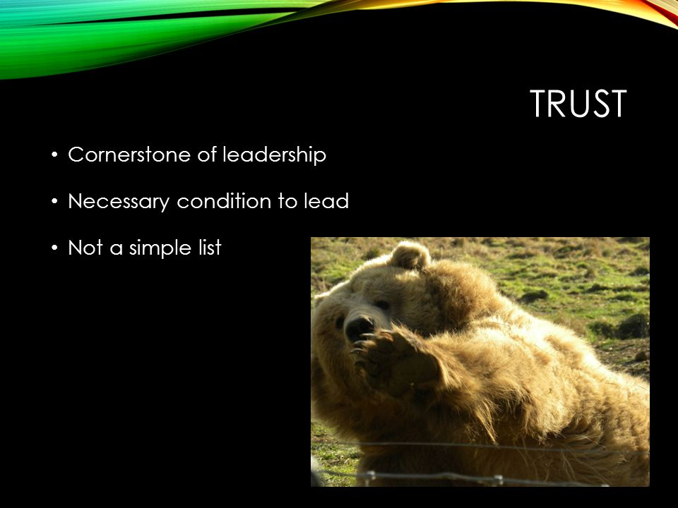 TRUST Cornerstone of leadership Necessary condition to lead Not a simple list