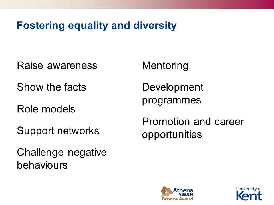 Fostering equality and diversity Raise awareness Show the facts Role models Support networks Challenge negative behaviours Mentoring Development programmes Promotion and career opportunities