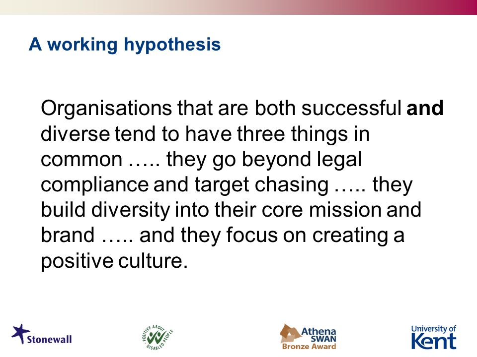 A working hypothesis Organisations that are both successful and diverse tend to have three things in common …..