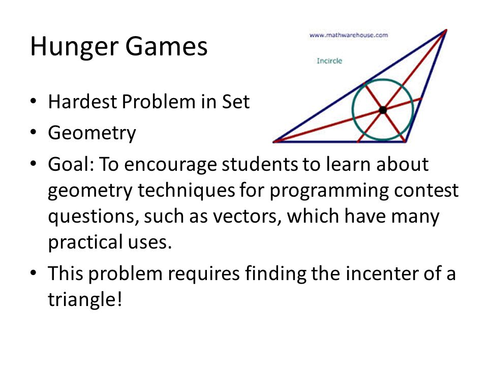 Hunger Games: My Solution 1.Find reference angles emanating from one vertex to the other two, via atan2.