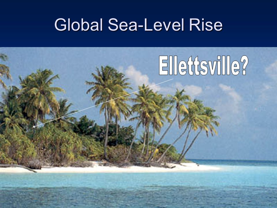 Global Sea-Level Rise We saw the picture of Antactica earlier, and it is estimated that all the glaciers will be gone by 2040. All that threatens to c