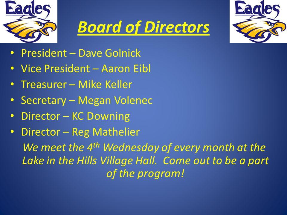 Board of Directors President – Dave Golnick Vice President – Aaron Eibl Treasurer – Mike Keller Secretary – Megan Volenec Director – KC Downing Direct