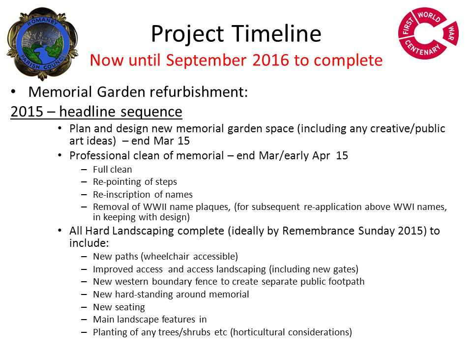 Project Timeline Now until September 2016 to complete Memorial Garden refurbishment: 2016 – headline sequence Continued refinement of any outstanding hard landscape features All soft landscaping to be completed – to include community planting (Parks/horticulture lead) Incorporation of any historical/reference/archive link material Incorporation of any creative/public art Re-dedication event/ceremony – Summer 2016
