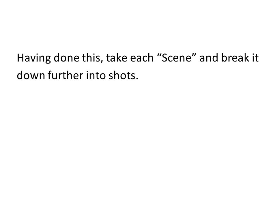 Having done this, take each Scene and break it down further into shots.