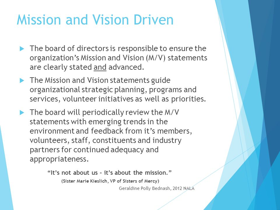 Mission and Vision Statements  Definitions Mission Statement ~ Should express what business we want to be in and tell others what we do, who we serve, how and why.