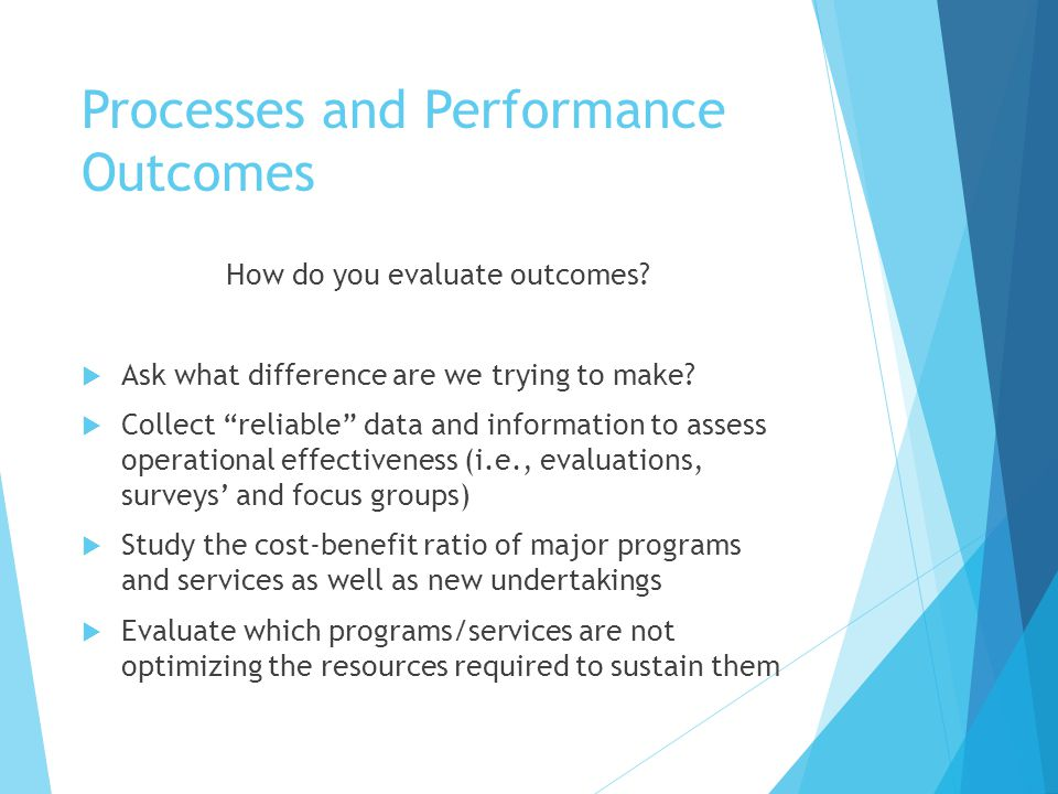 Processes and Performance Outcomes  Board members should know which programs and services are signature and why  Evaluate which are the weakest or least consequential to the organization's mission  Which are revenue producers.