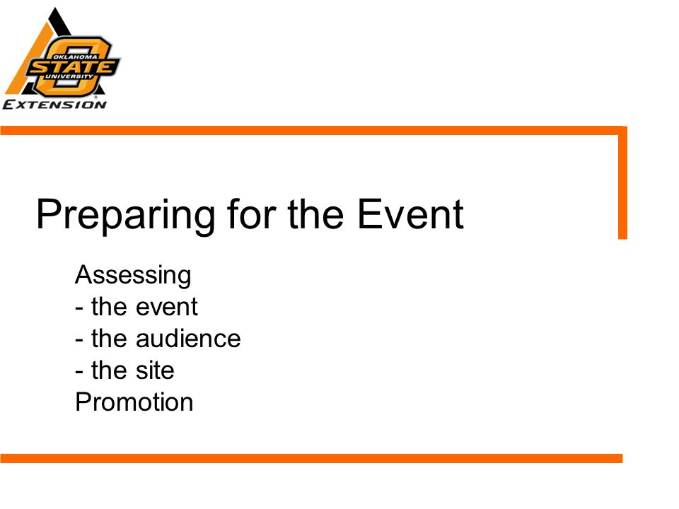 Preparing for the Event Assessing - the event - the audience - the site Promotion