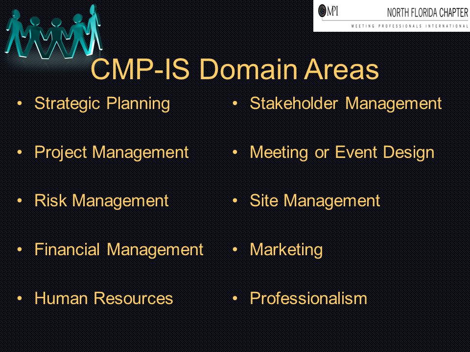 CMP-IS Domain Areas Strategic Planning Project Management Risk Management Financial Management Human Resources Stakeholder Management Meeting or Event
