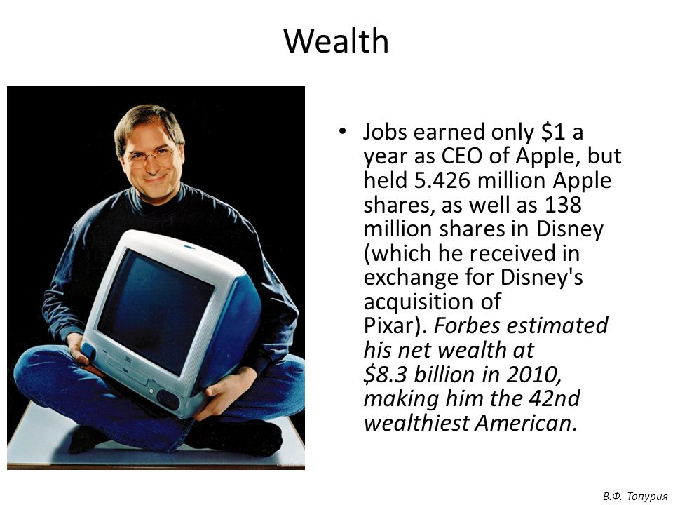 Most people know Steve Jobs, because he invented devices like: В.Ф. Топурия