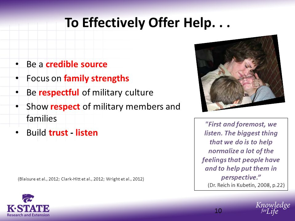 To Effectively Offer Help...