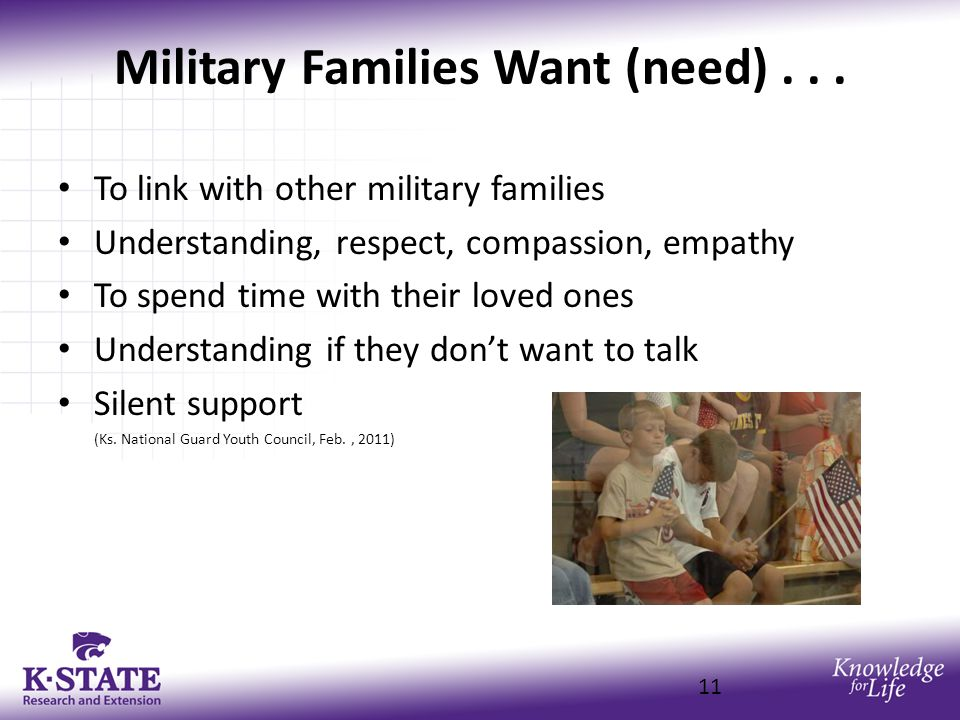 Military Families Want (need)...