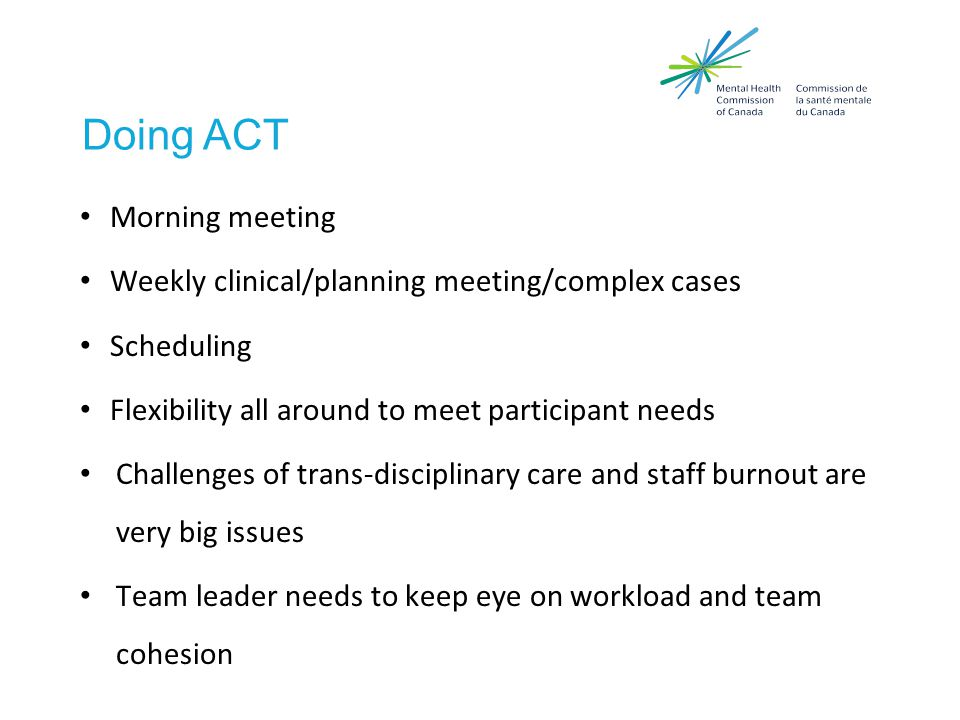 Doing ACT Morning meeting Weekly clinical/planning meeting/complex cases Scheduling Flexibility all around to meet participant needs Challenges of trans-disciplinary care and staff burnout are very big issues Team leader needs to keep eye on workload and team cohesion