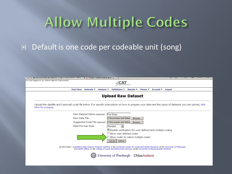  Default is one code per codeable unit (song)