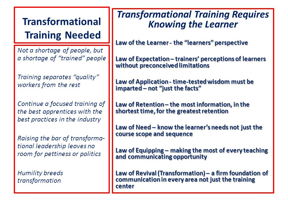 """Transformational Training Needed Transformational Training Requires Knowing the Learner Law of the Learner - the """"learners"""" perspective Law of Expecta"""