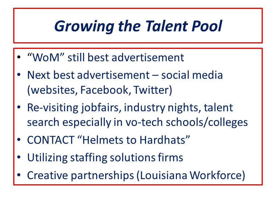 "Growing the Talent Pool ""WoM"" still best advertisement Next best advertisement – social media (websites, Facebook, Twitter) Re-visiting jobfairs, indu"