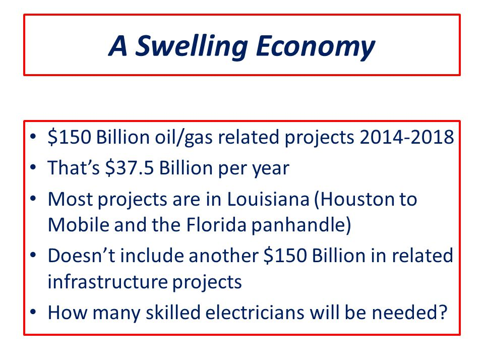 A Swelling Economy $150 Billion oil/gas related projects 2014-2018 That's $37.5 Billion per year Most projects are in Louisiana (Houston to Mobile and the Florida panhandle) Doesn't include another $150 Billion in related infrastructure projects How many skilled electricians will be needed