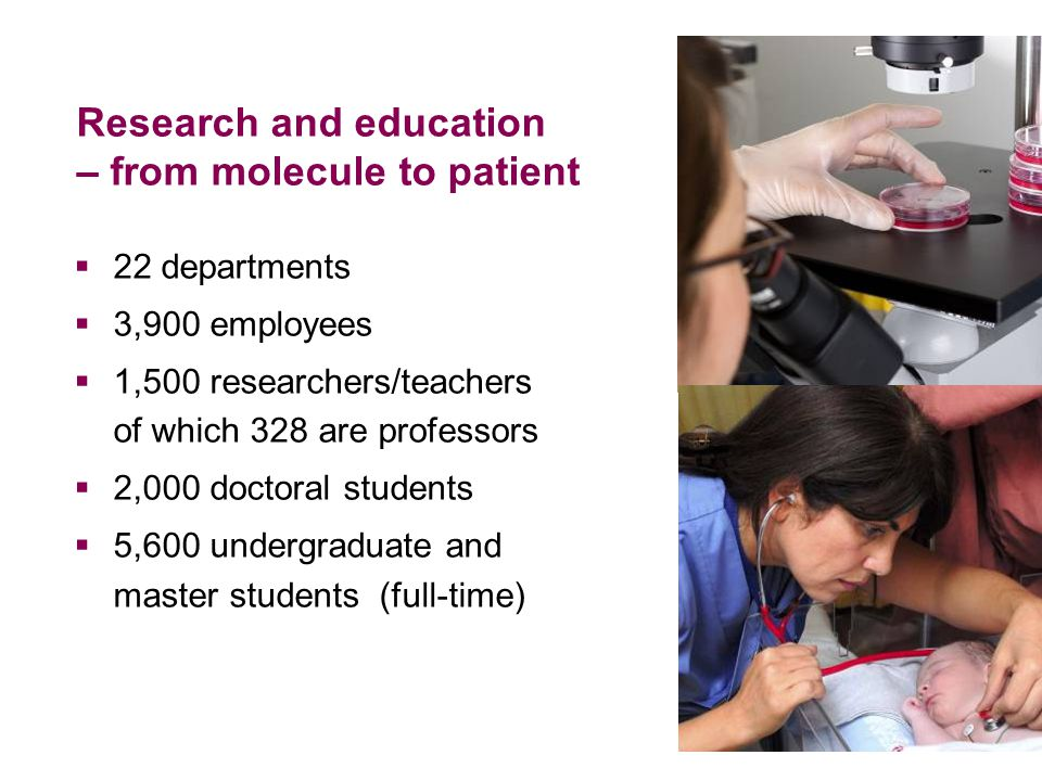 Research and education – from molecule to patient  22 departments  3,900 employees  1,500 researchers/teachers of which 328 are professors  2,000 doctoral students  5,600 undergraduate and master students (full-time)