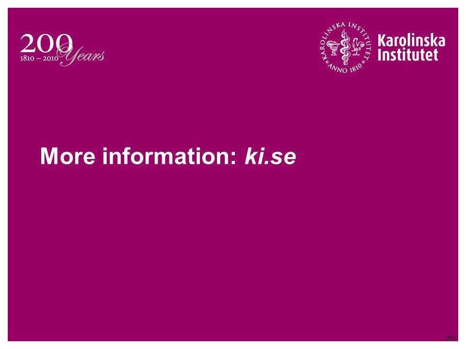 More information: ki.se 09/1