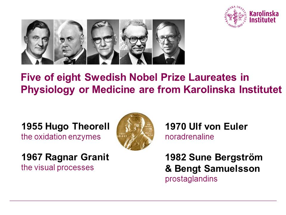 Five of eight Swedish Nobel Prize Laureates in Physiology or Medicine are from Karolinska Institutet 1955 Hugo Theorell the oxidation enzymes 1967 Ragnar Granit the visual processes 1970 Ulf von Euler noradrenaline 1982 Sune Bergström & Bengt Samuelsson prostaglandins