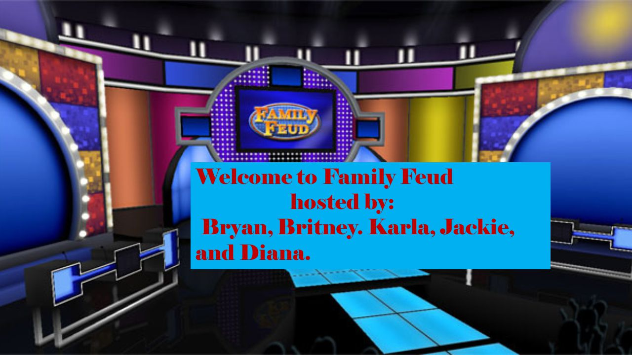 Welcome to Family Feud hosted by: Bryan, Britney. Karla, Jackie, and Diana.