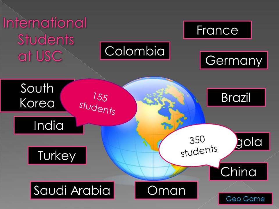 India China South Korea France Colombia Germany Oman Angola Saudi Arabia Turkey Brazil Geo Game 155 students 350 students