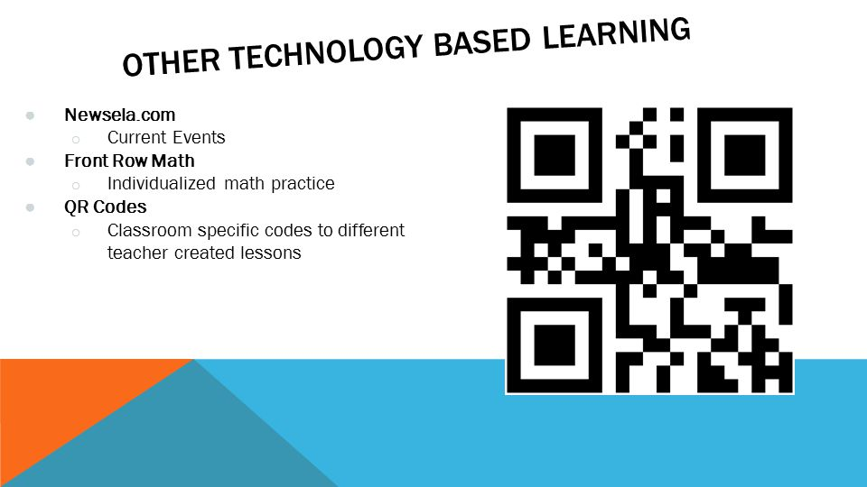 OTHER TECHNOLOGY BASED LEARNING ● Newsela.com o Current Events ● Front Row Math o Individualized math practice ● QR Codes o Classroom specific codes to different teacher created lessons