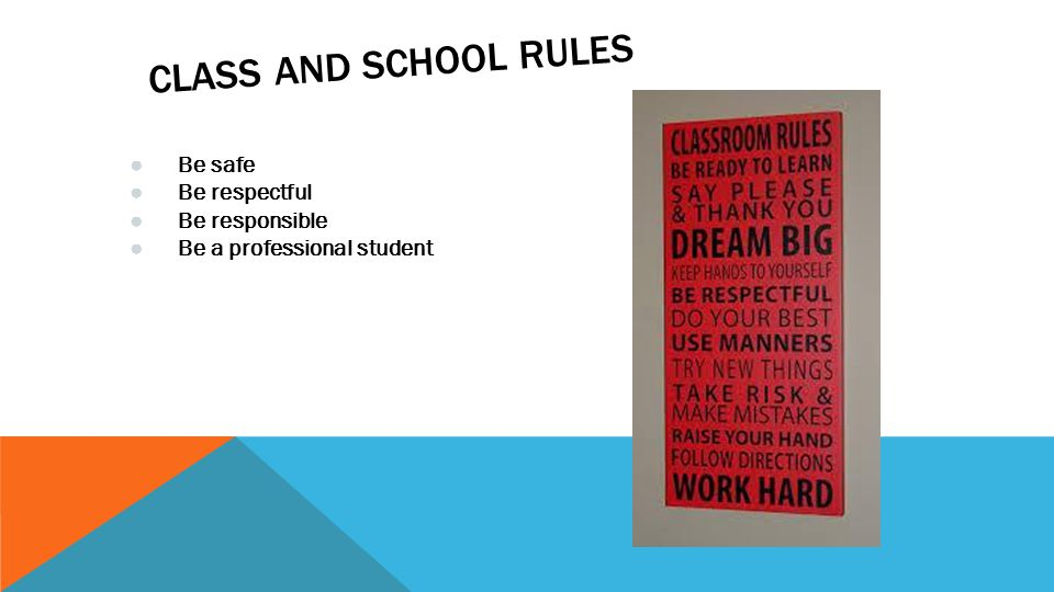 CLASS AND SCHOOL RULES ● Be safe ● Be respectful ● Be responsible ● Be a professional student