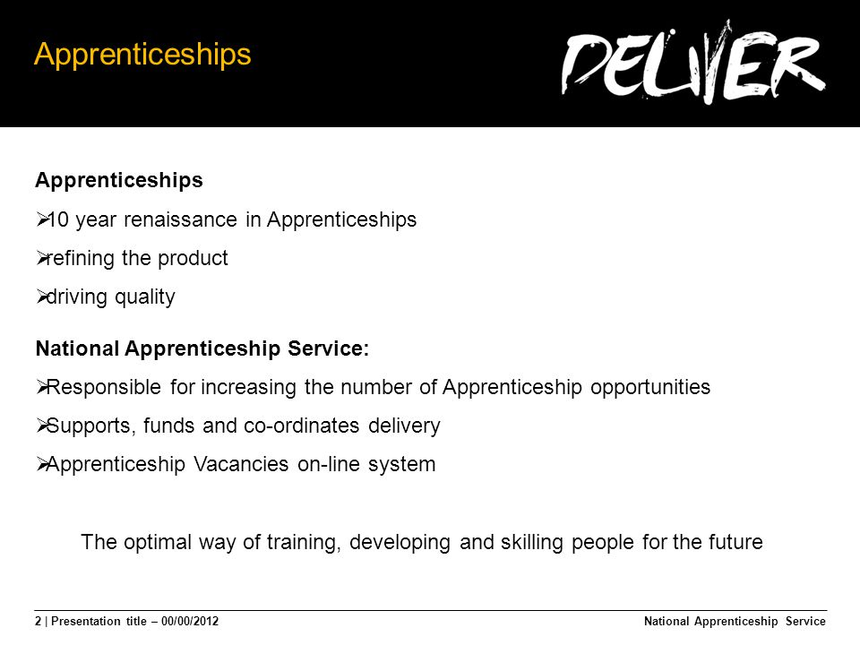 2 | Presentation title – 00/00/2012 Apprenticeships National Apprenticeship Service Apprenticeships  10 year renaissance in Apprenticeships  refining the product  driving quality National Apprenticeship Service:  Responsible for increasing the number of Apprenticeship opportunities  Supports, funds and co-ordinates delivery  Apprenticeship Vacancies on-line system The optimal way of training, developing and skilling people for the future
