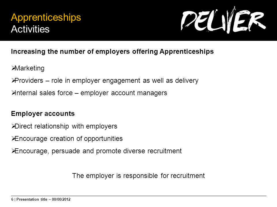 6 | Presentation title – 00/00/2012 Apprenticeships Activities Increasing the number of employers offering Apprenticeships  Marketing  Providers – role in employer engagement as well as delivery  Internal sales force – employer account managers Employer accounts  Direct relationship with employers  Encourage creation of opportunities  Encourage, persuade and promote diverse recruitment The employer is responsible for recruitment