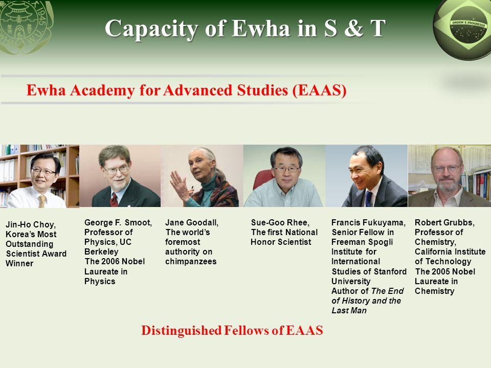 Ewha Academy for Advanced Studies (EAAS) Capacity of Ewha in S & T Jae-Chun Choe, Korea Science Culture Award Winner Jean-Marie Gustave Le Clézio, 2008 Nobel Literature Prize Winner Joan S.