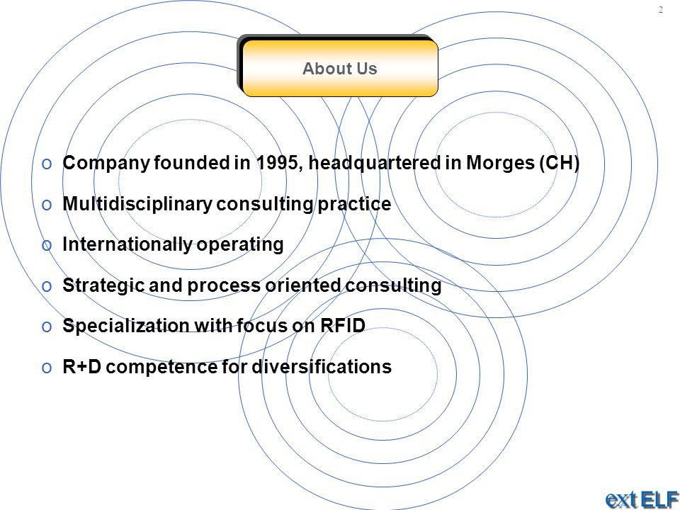 o Company founded in 1995, headquartered in Morges (CH) o Multidisciplinary consulting practice o Internationally operating o Strategic and process oriented consulting o Specialization with focus on RFID o R+D competence for diversifications About Us 2