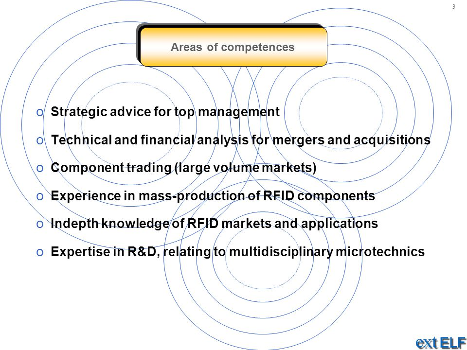 Areas of competences o Strategic advice for top management o Technical and financial analysis for mergers and acquisitions o Component trading (large