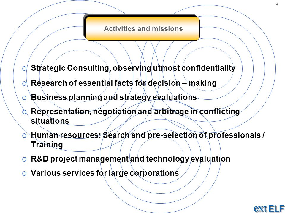 Activities and missions o Strategic Consulting, observing utmost confidentiality o Research of essential facts for decision – making o Business planni