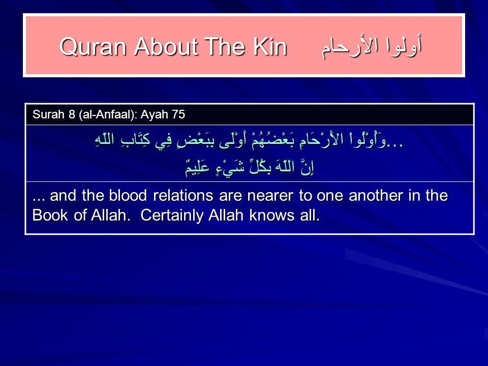 Quran About The Kin أولوا الأرحام Surah 8 (al-Anfaal): Ayah 75 …وَأُوْلُواْ الأَرْحَامِ بَعْضُهُمْ أَوْلَى بِبَعْضٍ فِي كِتَابِ اللّهِ إِنَّ اللّهَ بِكُلِّ شَيْءٍ عَلِيمٌ...