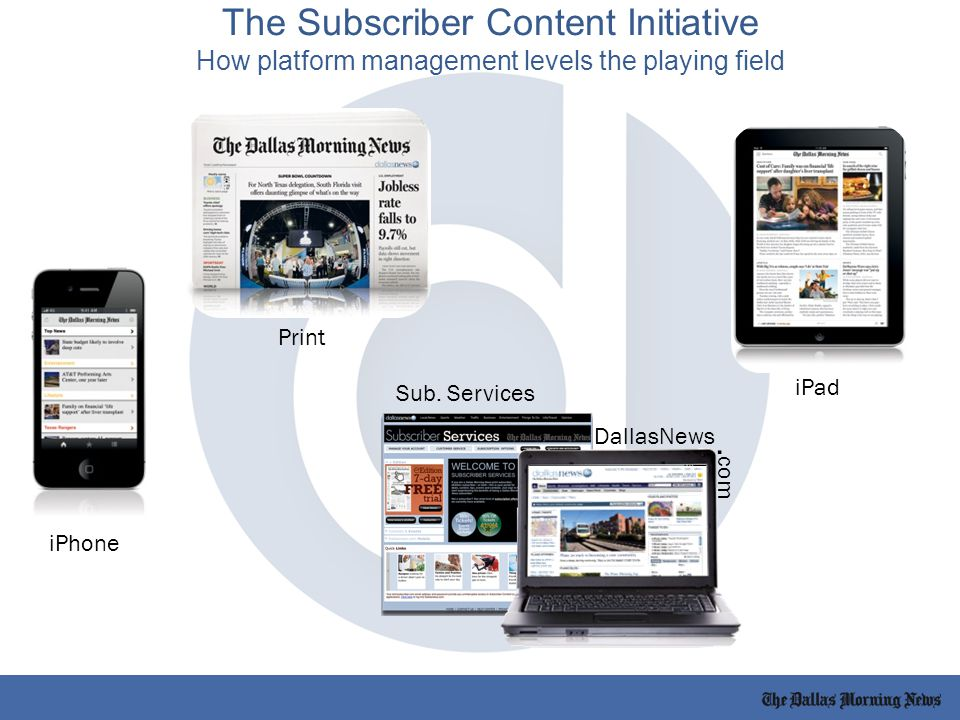 Print iPad iPhone Sub. Services DallasNews. com The Subscriber Content Initiative How platform management levels the playing field
