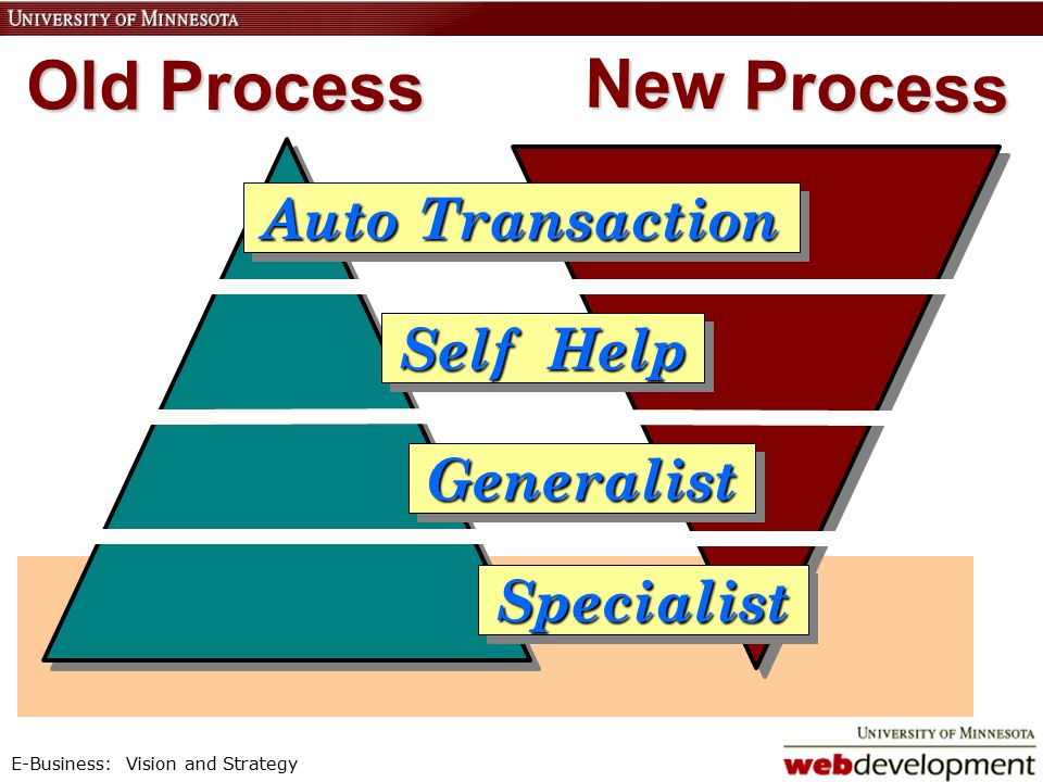E-Business: Vision and Strategy Auto Transaction Auto Transaction Self Help Self Help Generalist Generalist Specialist Specialist Old Process New Process