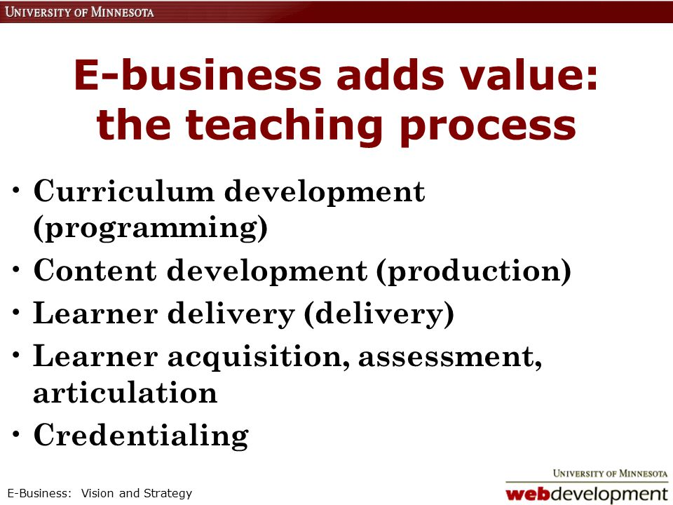E-Business: Vision and Strategy E-business adds value: the teaching process Curriculum development (programming) Content development (production) Learner delivery (delivery) Learner acquisition, assessment, articulation Credentialing