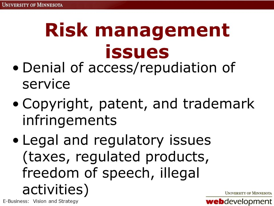 E-Business: Vision and Strategy Risk management issues Denial of access/repudiation of service Copyright, patent, and trademark infringements Legal and regulatory issues (taxes, regulated products, freedom of speech, illegal activities)