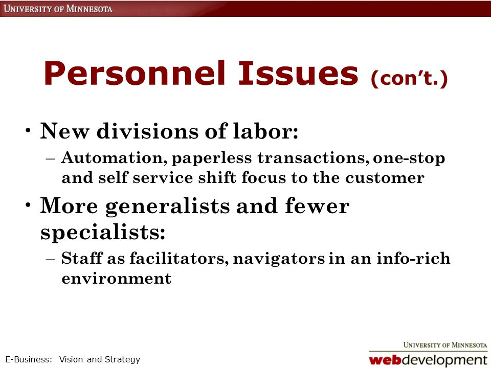 E-Business: Vision and Strategy Personnel Issues (con't.) New divisions of labor: – Automation, paperless transactions, one-stop and self service shift focus to the customer More generalists and fewer specialists: – Staff as facilitators, navigators in an info-rich environment
