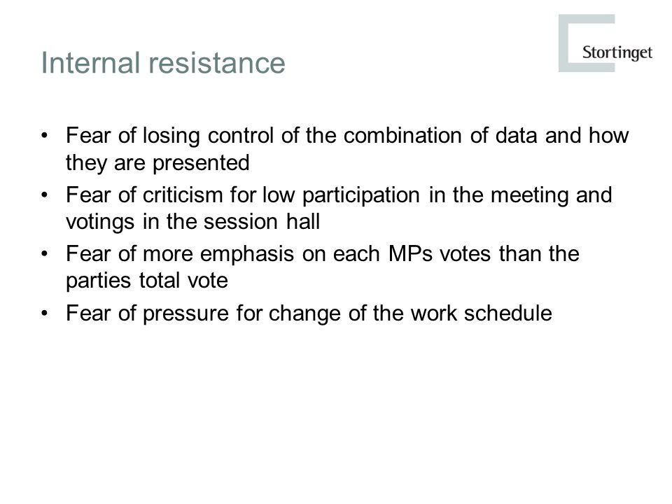 Internal resistance Fear of losing control of the combination of data and how they are presented Fear of criticism for low participation in the meeting and votings in the session hall Fear of more emphasis on each MPs votes than the parties total vote Fear of pressure for change of the work schedule