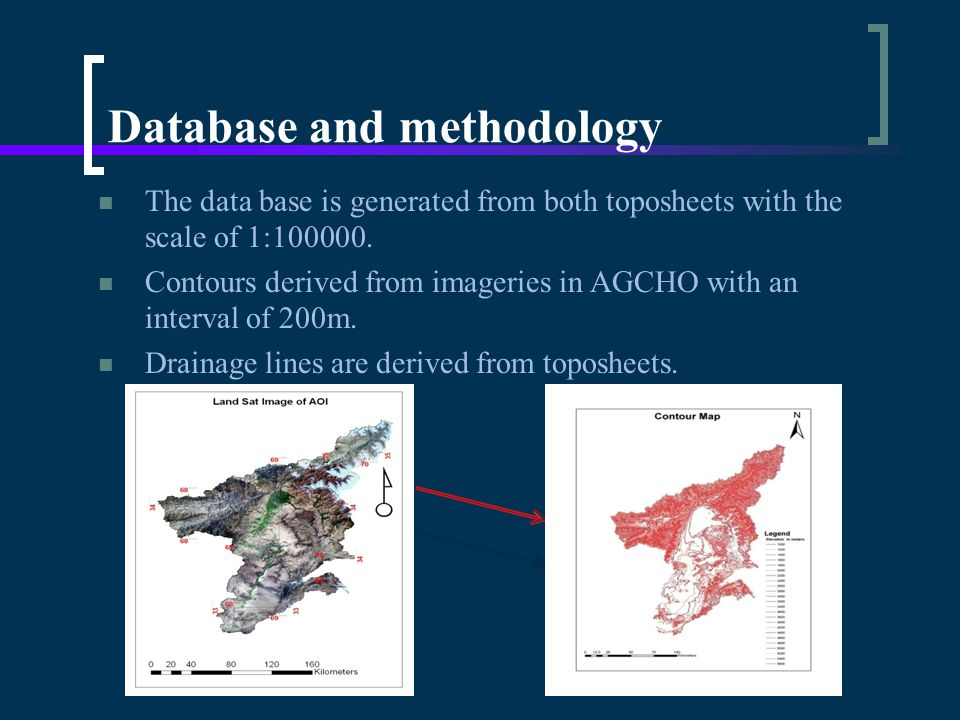 The data base is generated from both toposheets with the scale of 1:100000.