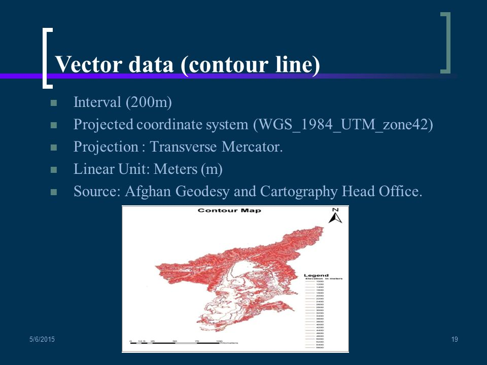 Interval (200m) Projected coordinate system (WGS_1984_UTM_zone42) Projection : Transverse Mercator.