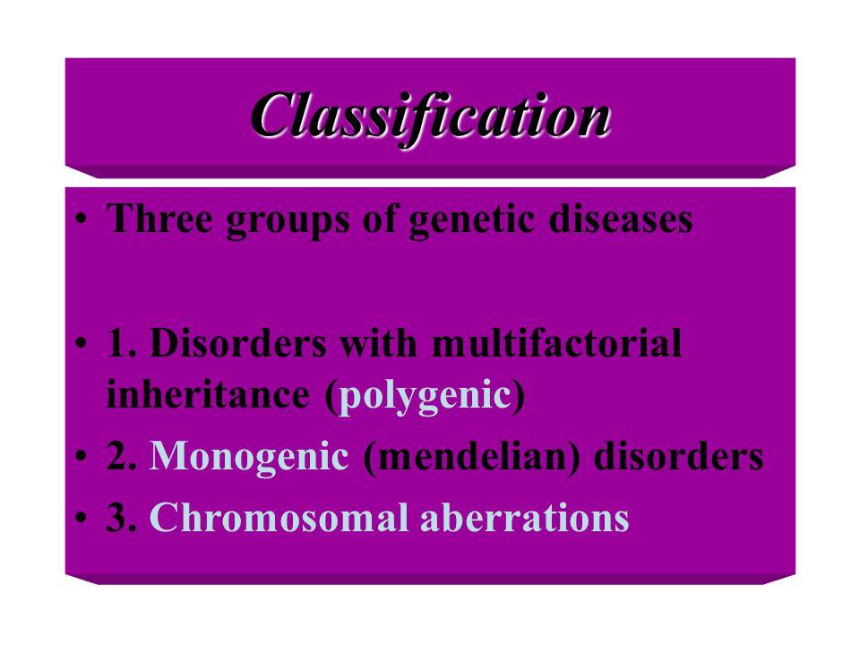 Classification Three groups of genetic diseases 1. Disorders with multifactorial inheritance (polygenic) 2. Monogenic (mendelian) disorders 3. Chromos